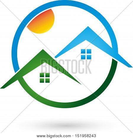 Two houses in green and blue, roofs, real estate and real estate agent logo