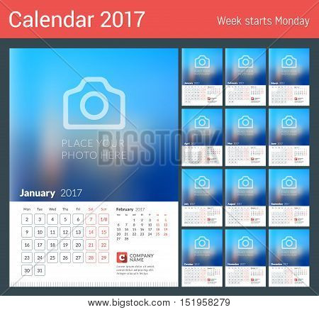 Wall Calendar For 2017 Year. Vector Print Template With Place For Photo. Week Starts Monday. 2 Month