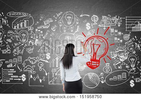 Rear view of woman drawing light bulb and business sketches on blackboard. Concept of looking for solution