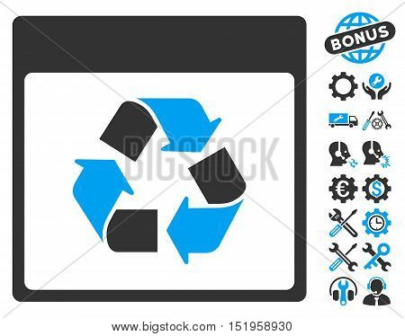 Recycle Calendar Page pictograph with bonus configuration images. Vector illustration style is flat iconic symbols, blue and gray, white background.