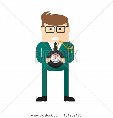 Businessman with bomb. Concept of business risk. Management leadership and innovation. Flat cartoon bomb illustration. Objects isolated on a white background.