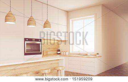 Sunlit Kitchen Interior With Countertops