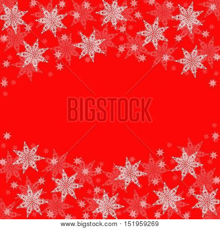Christmas frame from white snowflakes on red festive background with free space for text in the center