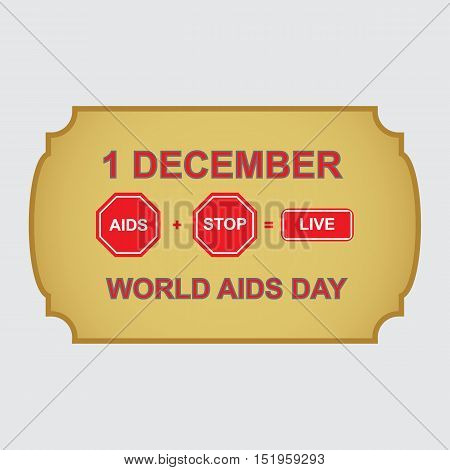 World AIDS day. 1 december. Awareness. Medical sign. Vector icon.