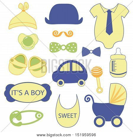 baby objects clip art set. Set of baby shower elements isolated on white background. Vector illustration