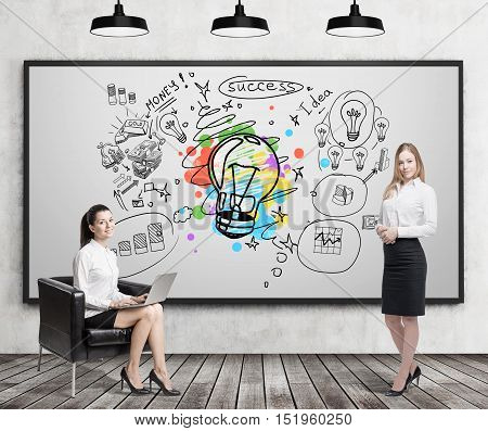 Girl with laptop sitting near whiteboard with giant light bulb sketch surrounded by startup icons. Her colleague is standing nearby. Concept of business idea. 3d rendering