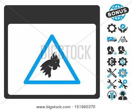 Rooster Danger Calendar Page icon with bonus tools symbols. Vector illustration style is flat iconic symbols, blue and gray, white background.