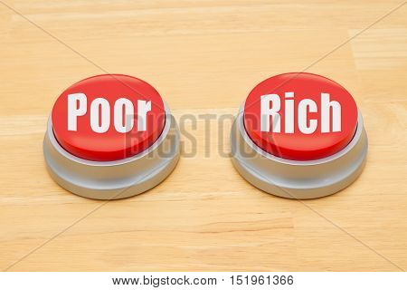 The difference between being poor and being rich Two red and silver push button on a wooden desk with text Poor and Rich