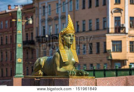 Sphinx Of Egyptian Bridge Over The Fontanka River, Saint Petersburg, Russia