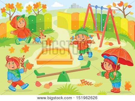 Vector illustration of young children playing in the playground