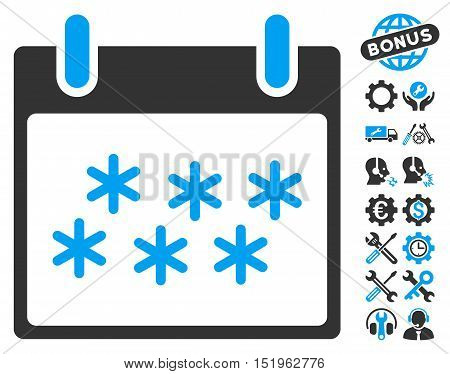 Snow Calendar Day icon with bonus setup tools clip art. Vector illustration style is flat iconic symbols, blue and gray, white background.