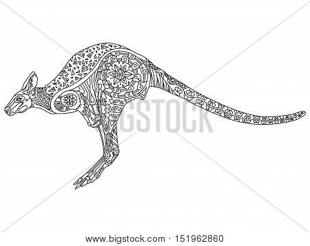 Kangaroo anti-stress coloring book for adults. Black and white hand drawn vector. doodle print with ethnic patterns. Zen tangle style for tattoo, shirt design, logo, sign