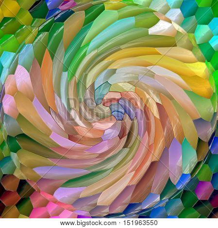 Abstract coloring background of the abstract gradient with visual mosaic,lighting,spherize,pinch,twirl and plastic wrap effects