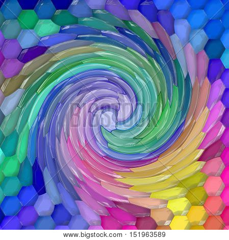 Abstract coloring background of the abstract gradient with visual mosaic,hexagon,twirl and plastic wrap effects,good for your design
