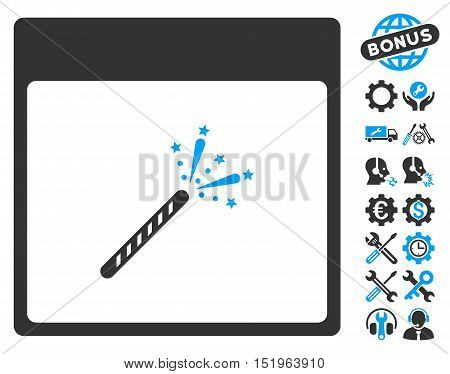 Sparkler Firecracker Calendar Page icon with bonus settings pictograph collection. Vector illustration style is flat iconic symbols, blue and gray, white background.