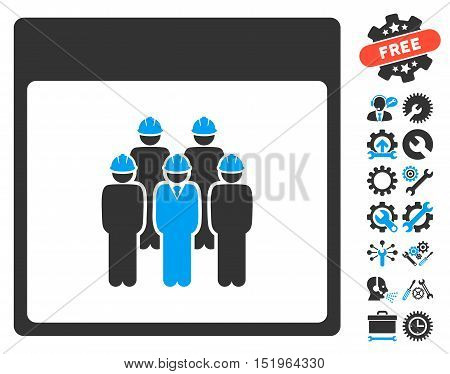 Staff Calendar Page pictograph with bonus setup tools symbols. Vector illustration style is flat iconic symbols, blue and gray, white background.