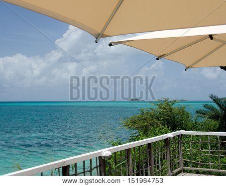 Umbrellas Over Caribbean Infinity Pool