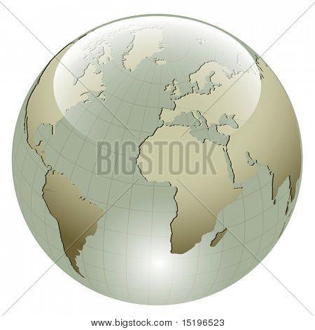 3D Erde glänzende Kugel