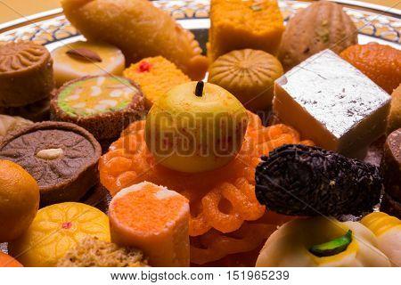 Mix Mithai or indian milk made sweets, favourite diwali, holi, dussehra, indian or pakistani wedding sweet food, diwali food