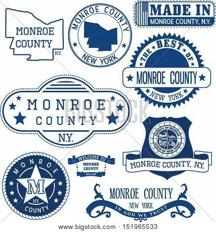 Monroe County, New York. Set Of Stamps And Signs.