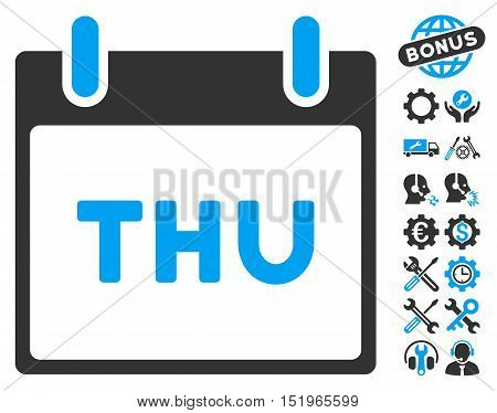 Thursday Calendar Page icon with bonus options clip art. Vector illustration style is flat iconic symbols, blue and gray, white background.