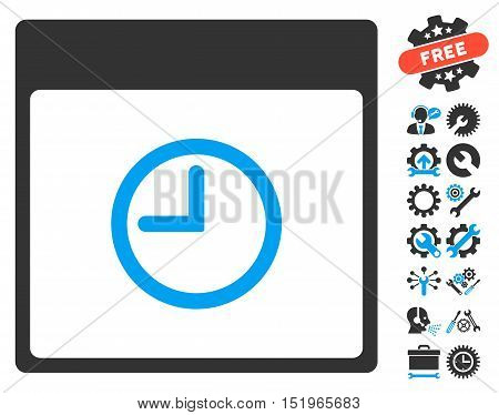 Time Calendar Page icon with bonus options icon set. Vector illustration style is flat iconic symbols, blue and gray, white background.