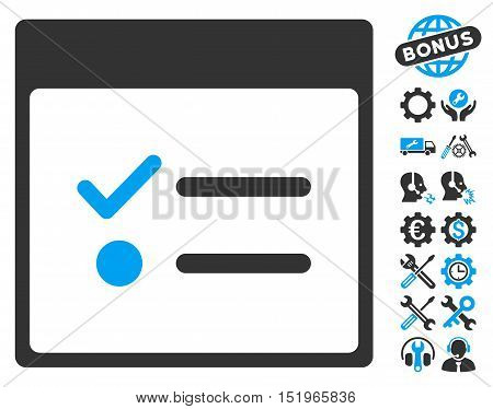 Todo Items Calendar Page pictograph with bonus configuration pictures. Vector illustration style is flat iconic symbols, blue and gray, white background.