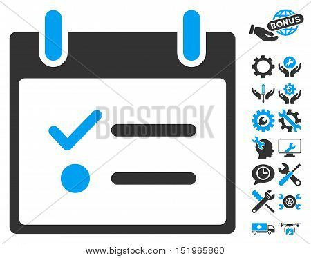 Todo List Calendar Day pictograph with bonus setup tools pictures. Vector illustration style is flat iconic symbols, blue and gray, white background.