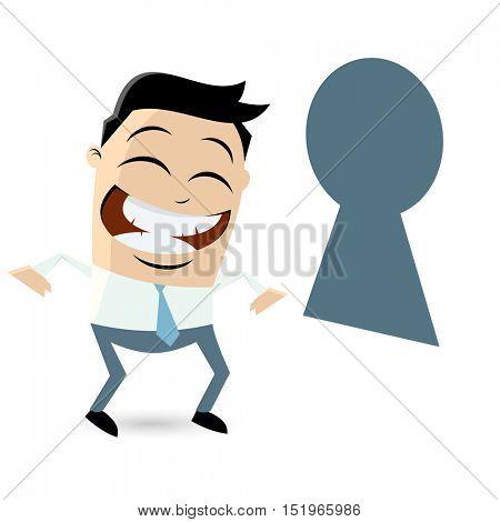 funny businessman looking through keyhole
