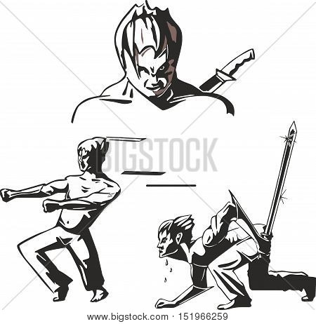 Set of three teen warriors of martial arts and with swords in japanese anime style