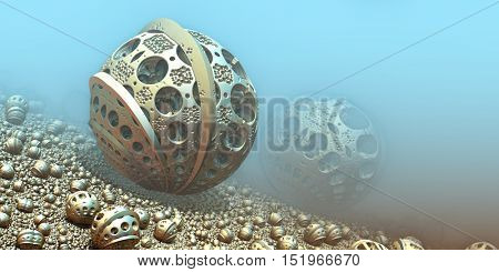Background with fantastic 3D spheres, abstract science design.