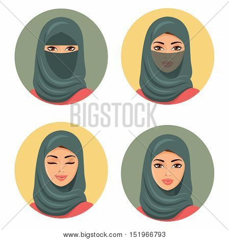 Set four Arab girls avatars in different traditional headdresses. Isolated. Vector. Young arab woman icons set girls portrait in colored hijab.