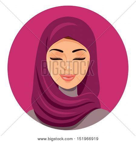 Beautiful muslim arab woman in hijab closing her eyes vector flat icon avatar. Beautiful face of arabic muslim woman. Portrait of the Muslim woman in a hijab. Isolated.