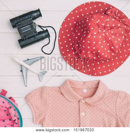 Pink Girly Travel fashion accessories top view