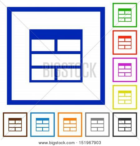 Set of color square framed Spreadsheet horizontally merge table cells flat icons