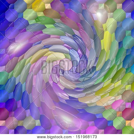 Abstract coloring background of the dark gradient with visual mosaic, octagon,lighting,plastic wrap and twirl effects