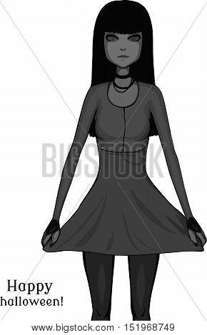 Brunette girl. Grayscale illustration. Pretty girl in dress. Happy halloween!
