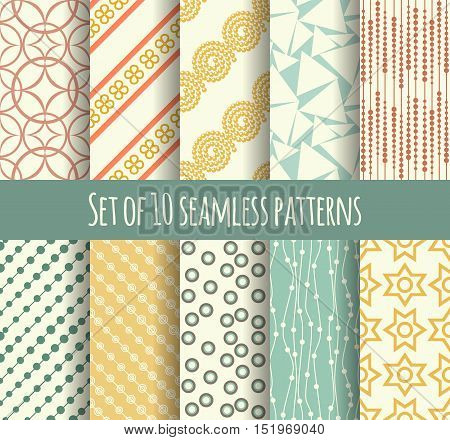 Set of 10 retro seamless pattern can be used for wallpaper, website background, textile printing, wrapping paper, holiday cards, wedding invitation, postcard, banner, flyer. Modern geometric texture.