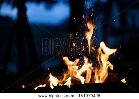 fire in the street. The concept of nature.