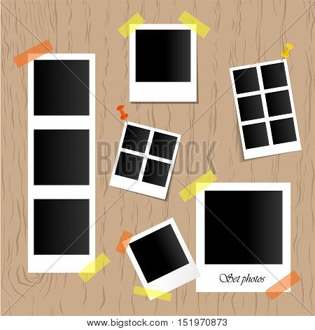 Set of realistic vector photo frames on sticky tape, pins and rivets isolated on wooden background. Template photo design. Vector illustration.
