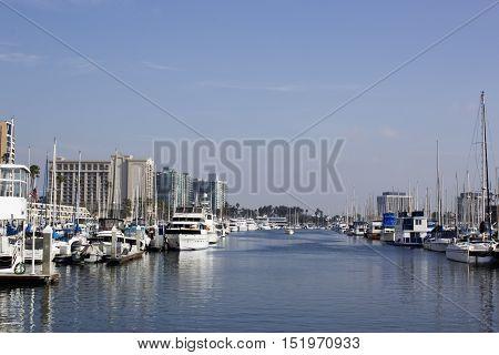 Long Beach CA USA. Boats docked at marina in Marina Del Rey Los Angeles CA