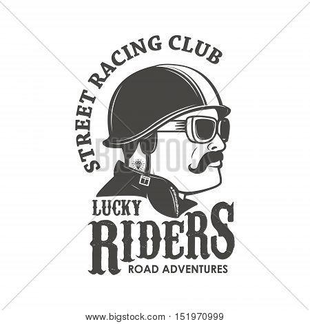 racing club emblem template. Street racing club. Lucky Riders. Men's head in vintage racer helmet. Vector illustration.