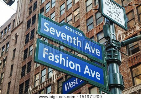 Seventh avenue sign in New York City