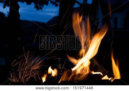 flaming fire. The concept texture and background