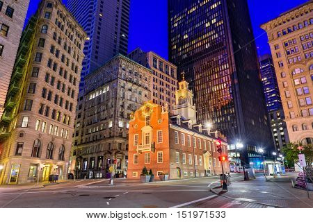 Boston, Massachusetts, USA cityscape at the Old State House.