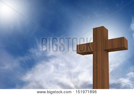 3D Rendering Of Wooden Cross On A Blue Sky With Sunlight