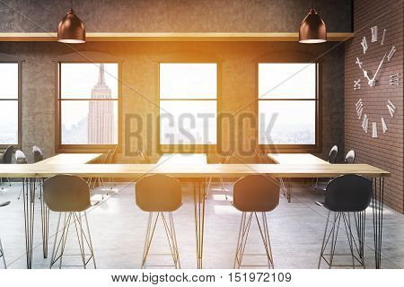 New York City bar interior with stools narrow tables and large clock on brick wall. Concept of bar culture. Toned image. 3d rendering