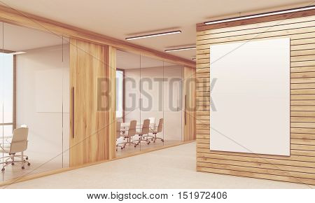 Sunlit company corridor with light wood walls and two conference rooms with chairs and tables. Concept of negotiation. Mock up. 3d rendering. Toned image