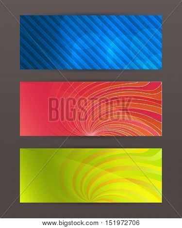 Set Horizontal Banner Headline Abstract Glow Lines01