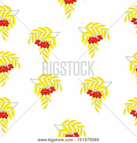 Seamless pattern with branches and berries of mountain ash, ornamental. Template for invitations, greetings. Autumn